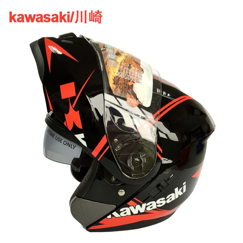 1pc Double Lens Kawasaki Brand Full Face Motorcycle Helmet Racing Casco Motor Casque 2Colors (M\L\XL\XXL)(China (Mainland))