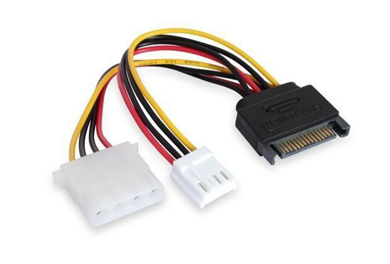 SATA 15Pin Male Power to 4Pin Molex + Small 4Pin Floppy Drive Power adapter cable(China (Mainland))