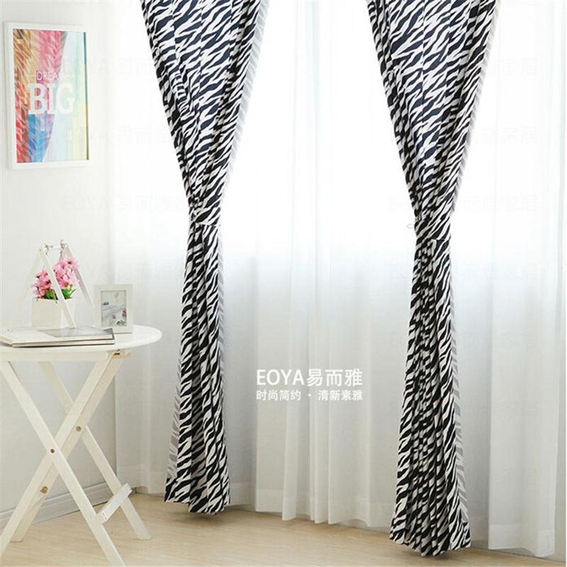 Black And White Stripes Curtain Fabric Modern Minimalist