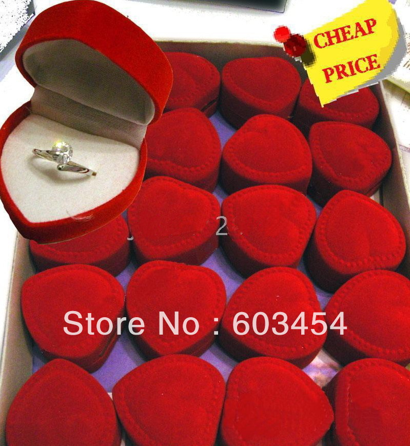 "20pc x'mas Velvet Heart Earrings Ring gift Box Dimension:1 4/5"" X 1 4/5"" X 1 3/10"" / Free Shiping(China (Mainland))"