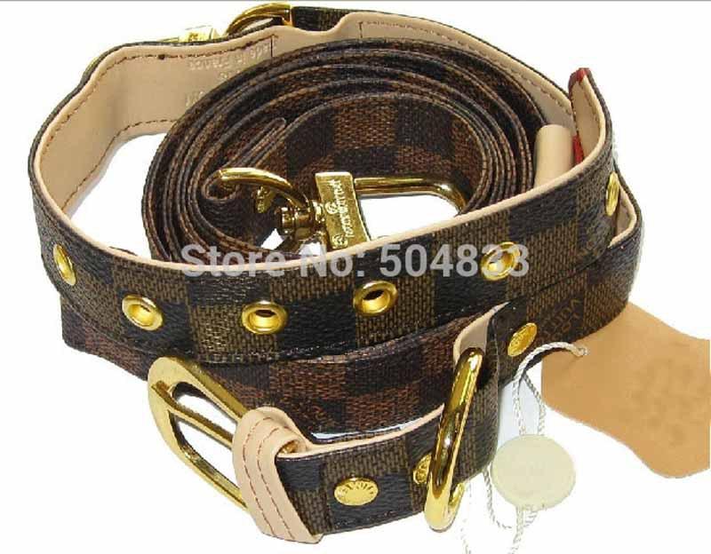 Designer Dog Pu Leash + Collar 2pc Set Classic Check Puppy Pets Leather Lead Coffee(China (Mainland))