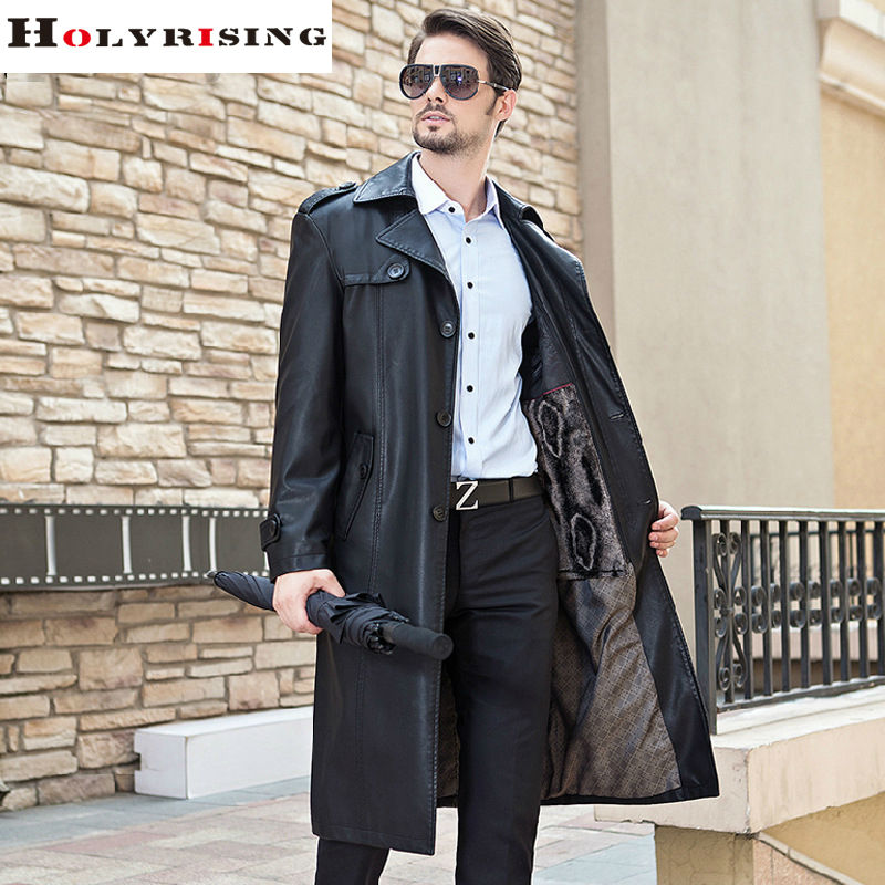 Autumn Winter Brand Clothing Trench Coat Men PU Slim Long Mens Overcoat Thick Single Breasted Long Soft Jacket Black M-3XL(China (Mainland))