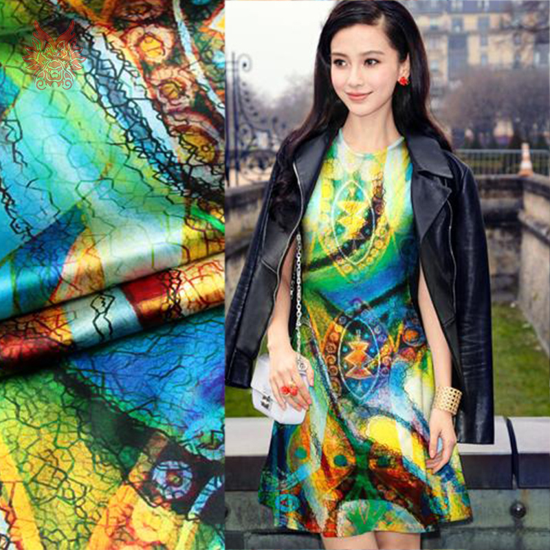 Designer Amercian style romantic abstract multi-color print pure silk/spandex fabric for dress/suit,Charmeuse fabric 19mm SP2035