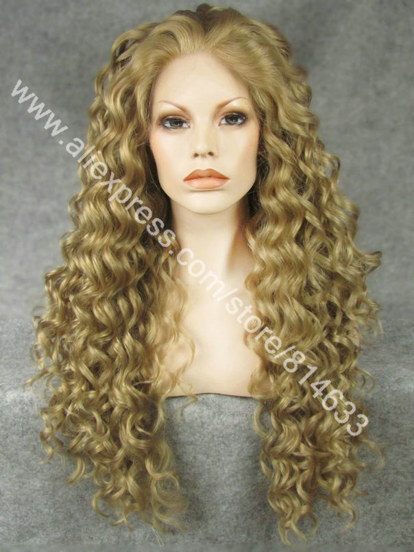 DHL Free 26 Long Ash Blonde Lace Front Curly Synthetic Wig Free Parting Heavy Density Fashion Womens Synthetic Wig S18<br><br>Aliexpress