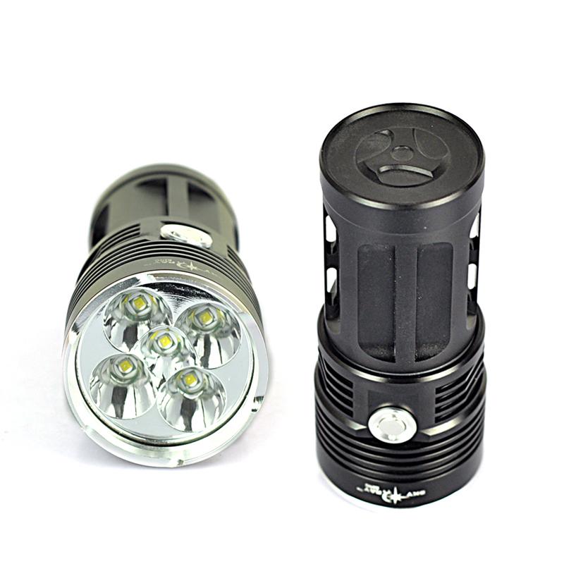 Outdoor Lighting SkyRay 8000 Lumen Strong 5x XML T6 LED Waterproof Flashlight 18650 Battery 3 Modes Torch Flash Light