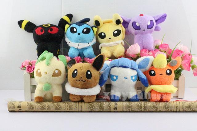 Бесплатная доставка японии аниме пикачу плюшевые куклы плюшевые игрушки 8 шт./лот