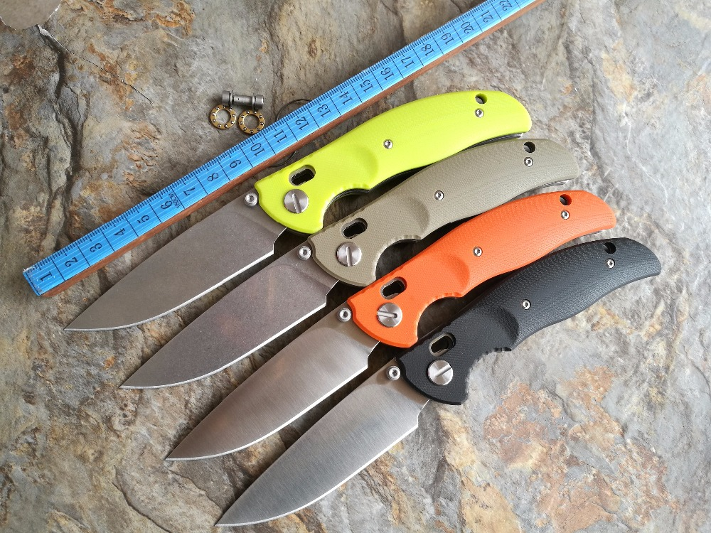 2016 new design F3 Bearing system Floding knife stone wash D2 blade black G10 handle outdoor survival hunting camping tool OEM(China (Mainland))