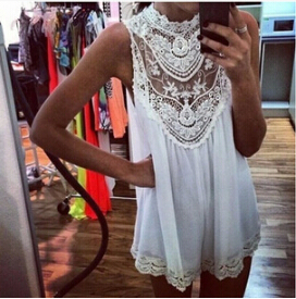 New arrival Sleeveless Lace dress 2015 Mini dress Sexy Hollow Out Flower Summer dress Good quality Casual dress wholesale(China (Mainland))