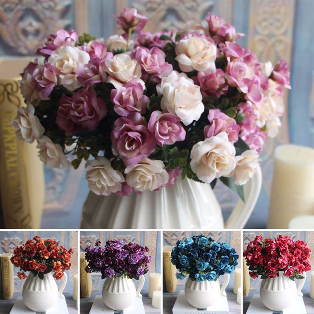 beautiful 15 heads artificial rose silk fake flower leaf