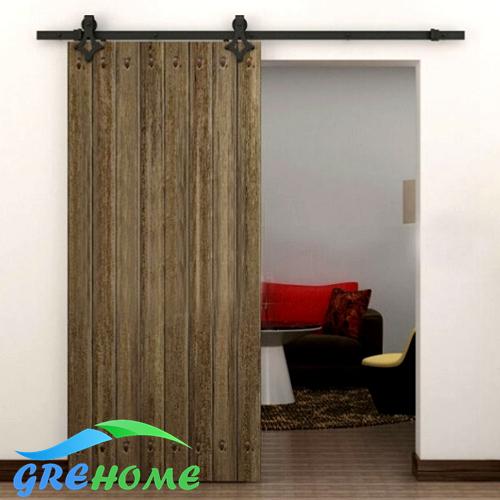 Global Free Shipping 4.9FT/6FT/6.6FT Black rustic carbon steel diamond hanger roller wood barn sliding door(China (Mainland))