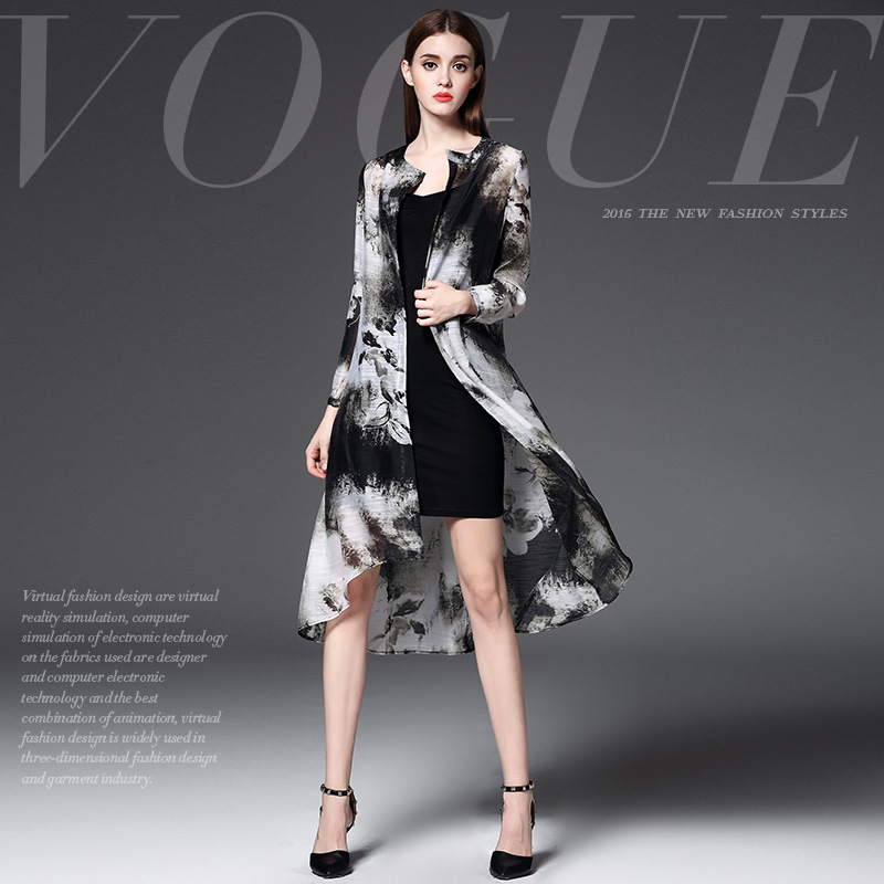 2016 Women Trench Coat Loose Long Women Trench Spring and Autumn Long Sleeve  Retro classical trench printing thin coats WCT002