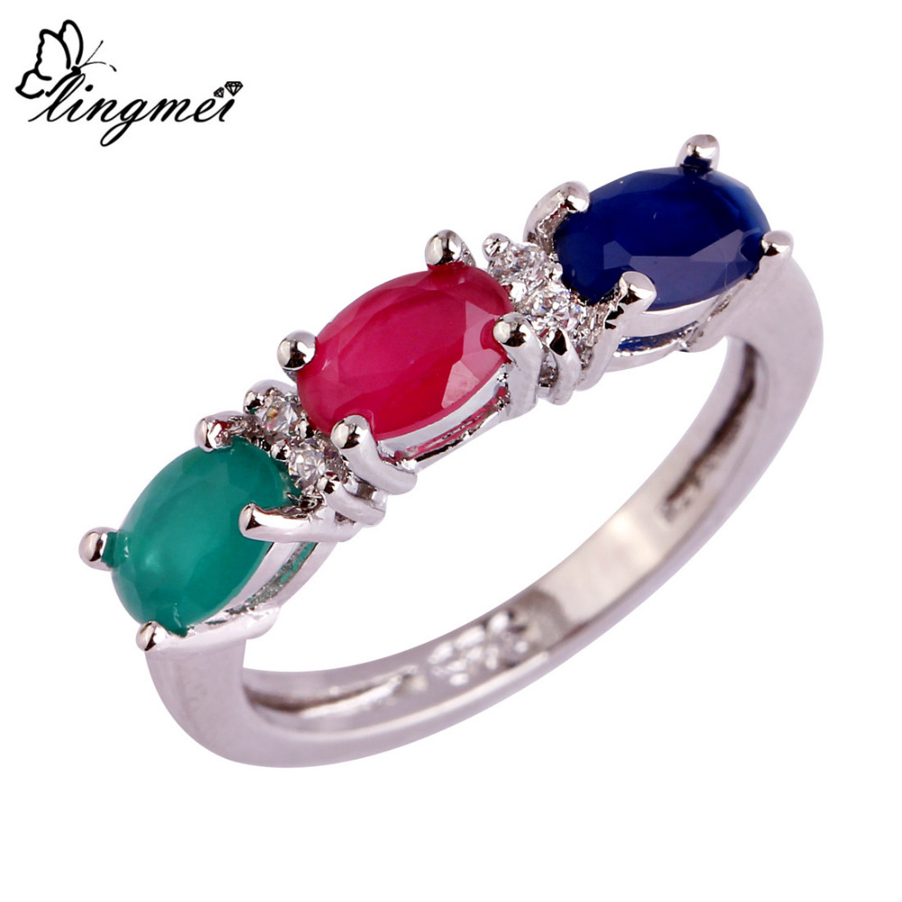 lingmei Wholesale Emerald Ruby Sapphire White Topaz Silver Ring Size 6 7 8 9 10 11 12 AAA Jewelry For Women Men Free Shipping(China (Mainland))