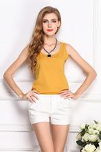 Wholesale 2014 Fashion New Summer Women Clothing Chiffon Sleeveless Solid Neon Candy Color Causal Chiffon Blouse
