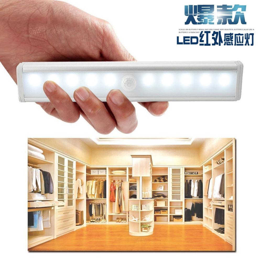 Espow 10 LED IR Infrared Motion sensor light Detector Wireless Sensor Closet Cabinet Light Lamp L802 battery powered lamp