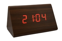 2014 New arrival Triangle Shaped Digital LED Wooden Desk Alarm Clock Brown Case Red LED for first service