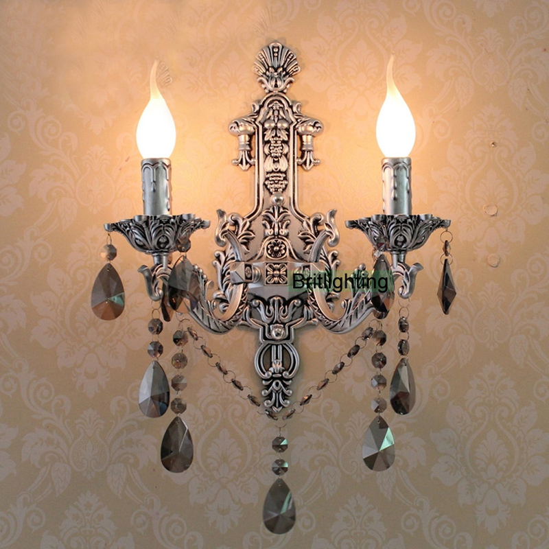 antique silver wall sconces Vintage Crystal Wall Lights led wall lighting Brass classic wall ...