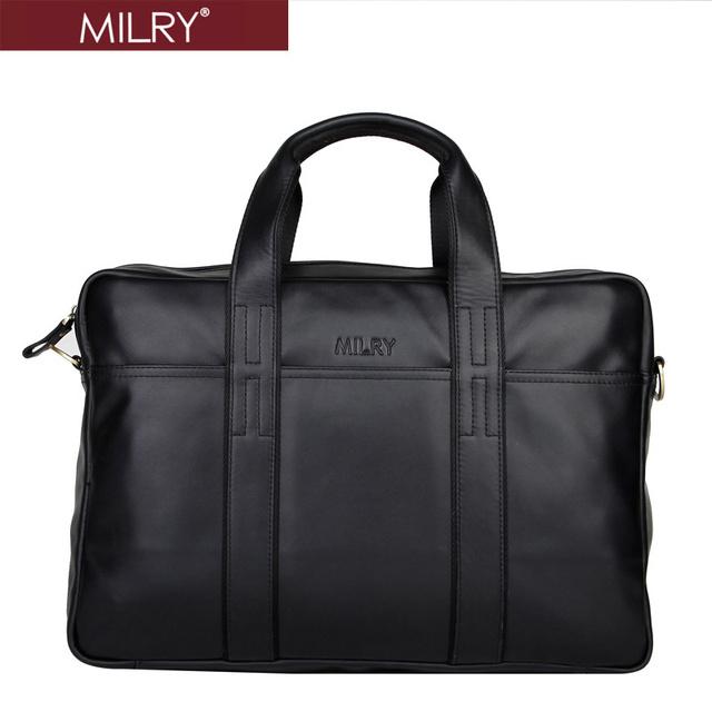 Brand MILRY 100% Genuine Leather Briefcase for men shoulder bag messenger bag for laptop cowhide handbag black P0074-1