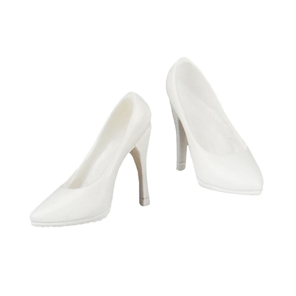 "1pair Figure Accessory white High-heeled Nurse Shoe For 12/"" Female Figure Doll"