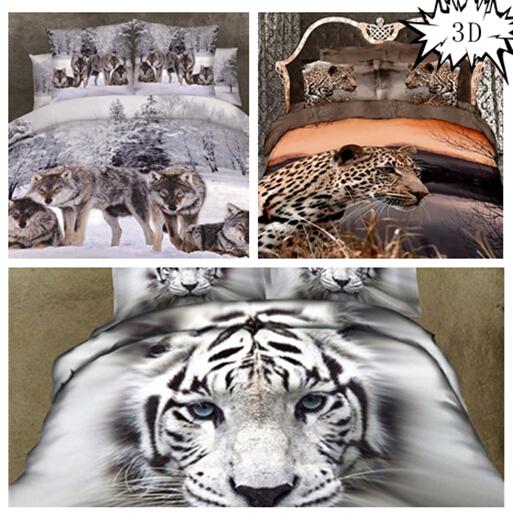 2015 3d parure de lit colcha de cama casal elephant leopard pattern duvet cover bed sheet. Black Bedroom Furniture Sets. Home Design Ideas