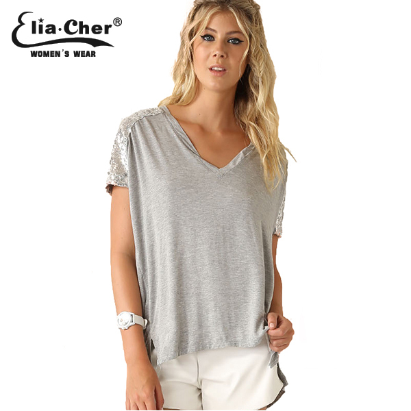 Eliacher Brand 2015 Chic Fashion Active Sequin Sleeve Patchwork Women Summer T-shirts Tops Plus Size Causal Female Street Clothe(China (Mainland))