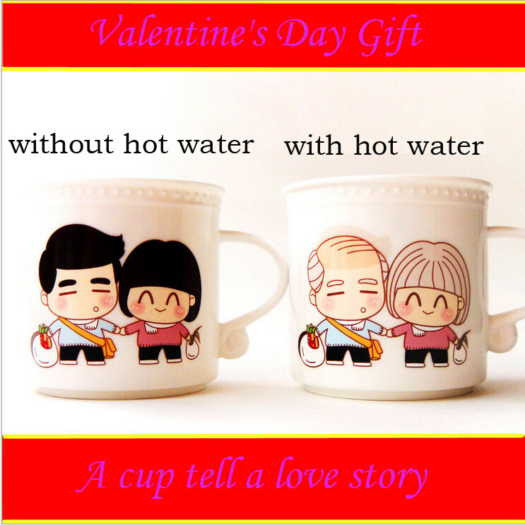 Creative valentine s day gifts remain couples discoloration cup of milk cup of coffee cup Christmas