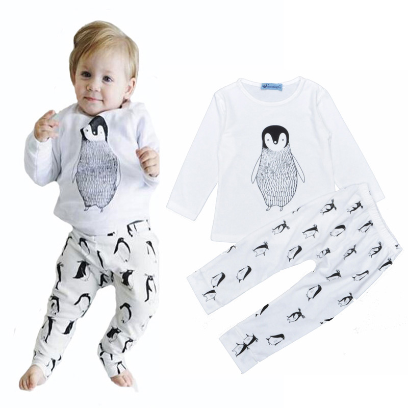 Bobo choses girls&boys clothes set Penguin long sleeve T-Shirt tops Tees+Penguin print pants kids clothing set vetement enfant(China (Mainland))