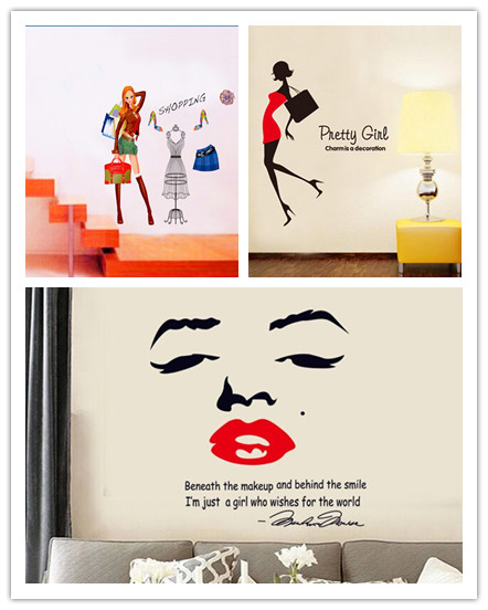 Fashion sexy girl shopping background tv home decor wall paper poster wall stickers decals for - Wall decor stickers online shopping ...