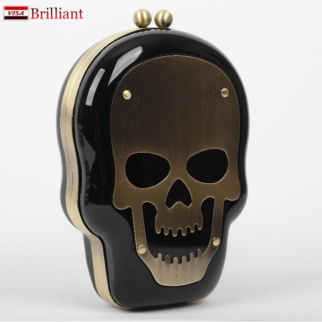 2015 Fashion skull bag crazed style women clutch evening bags chain cross body acrylic box women party purses and handbags CC960(China (Mainland))