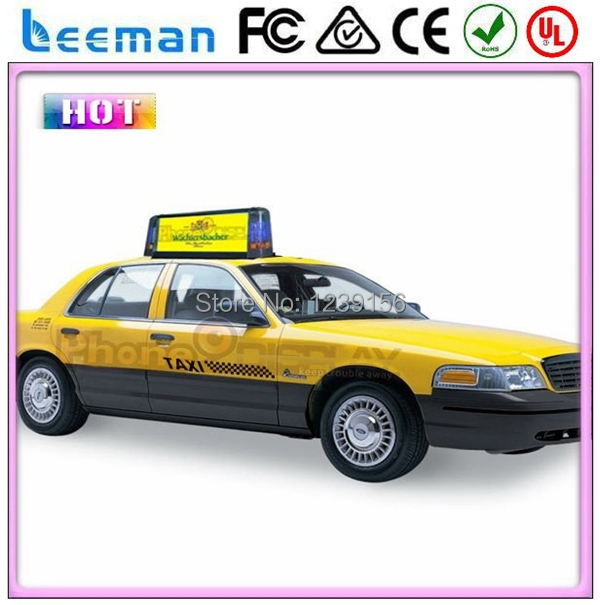 Leeman creative products wireless 3G system double sided led taxi top advertising signs full color scrolling led taxi top board(China (Mainland))