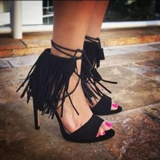 Здесь можно купить  summer name brand red blue seude leather tassel sandals elegant fringe fluffy concise high heel dress pumps  Обувь