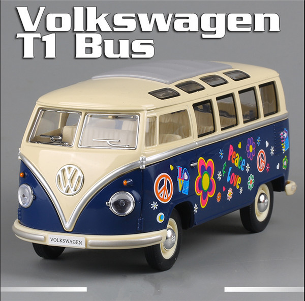 KINGSMART 1962 Volkswagen 1:24 Scale Diecast Bus Toys, Painting Onibus, Door Openable Model Car Toy For Collection / Gift(China (Mainland))