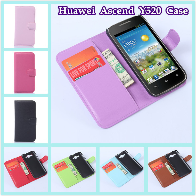 Huawei Ascend Y520 case fashion luxury litchi texture flip pu leather wallet stand phone cover - BOSO Technology Co., Ltd (ShenZhen store)