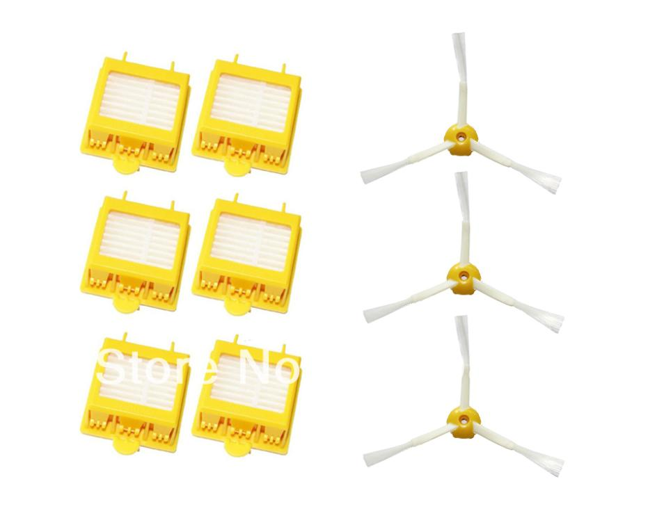 6 Hepa Filters + 3 3-Armed Side Brush for iRobot Roomba 700 Series 760 770 780 Vacuum Cleaner Accessories Part(China (Mainland))