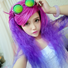 70Cm Long Curly Wig Lolita Hair Ombre Cheap Heat Resistant Women Party Synthetic Wavy Purple Party Loose Curl Wigs With Bangs(China (Mainland))