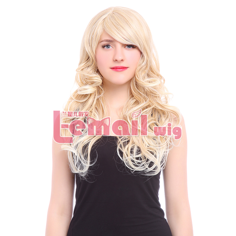 Free Shipping 60cm Cheap Fashion Long Natural Wavy Blonde Wig Cosplay Synthetic Hair Wig for Women<br><br>Aliexpress