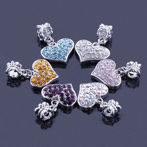 New Arrival 20pcs/lot Multicolor Crystal Love Heart Shape Spacer Big Hole Charm Beads For DIY Jewelry Making Accessories(China (Mainland))