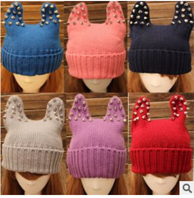 10pcs/lot winter autumn casual style Rivet Stud Devil Cat Ear Horn Hats Warmer Knit Beanie Cap candy color(China (Mainland))
