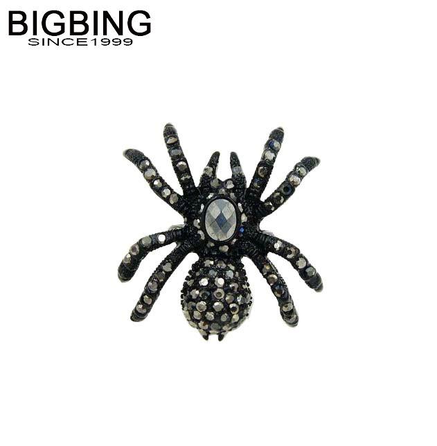 Bigbing jewelry fashion black crystal spider ring fashion rings personality nickel free T400(China (Mainland))