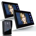 7 Color Video Door Phone Intercom System 2 Monitor Doorbell 1 Camera Intercom Kit IR Night