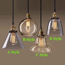 Retro Vintage Pendant Lights Clear Glass Lampshade Loft Pendant Lamps E27 110V 220V for Dinning Room Home Decoration Lighting(China (Mainland))