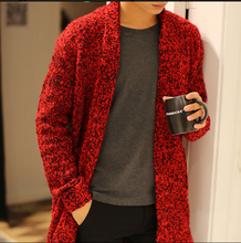 New brand fashion casual Men's spring and autumn long sweater male sweater coat knit cardigan jacket tide Korean sweater warm (China (Mainland))