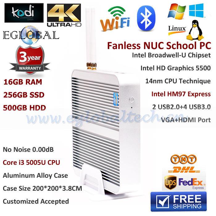 Intel Broadwell Core i3 5005U 16GB RAM 256GB SSD 500GB HDD Fanless Mini Server PC Windows for School Workstation Better Stick PC(China (Mainland))