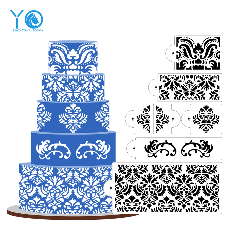 YO 7pcs/lot Damask Stencil 5 Tier Cake Stencil Design Stencil Newest Culinary Cake Mold Fondant Molds Cake Tools Bakeware(China (Mainland))
