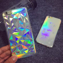 2015 3D Diamond Bling Laser Melting Rainbow Colors Print Case For iPhone 5S 5 6 6plus Hologram Iridescent Triangle Pastel Cases