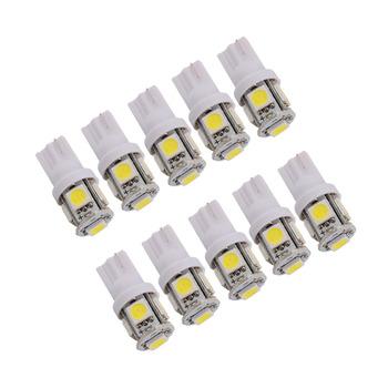10pcs/lot Car Auto LED T10 5050 W5W 5 SMD 194 168 LED White Car Side Wedge Tail Light Lamp Bulb 12*30m