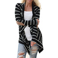 Black and White Tshirt Striped Elbow Patching PU Leather Long Sleeve Knitted Cardigan Fall Slim 2016