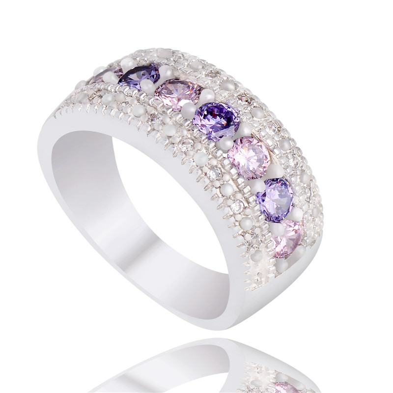 Hot 1PC Colorful Fine 925 Sterling Silver CZ Wonderful Woman's Ring Size 6-9(China (Mainland))
