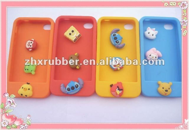 Silicone Case for iphone 4S with Changeable Cute Animal Buttons and Competitive Price