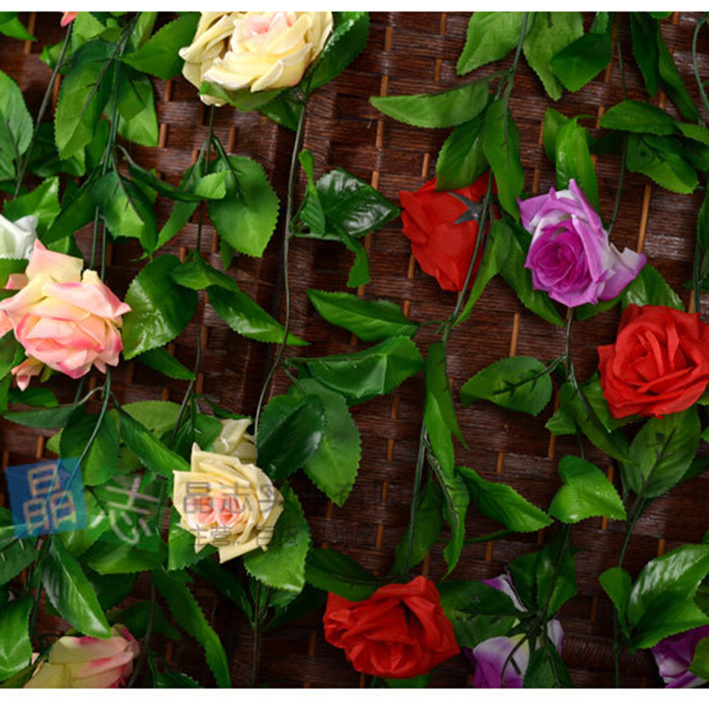 Rose Pink Yellow White in purple Fake Silk Roses Ivy Vine 240cm Artificial Flowers with Leaves For Home Hanging Decoration(China (Mainland))