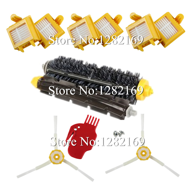 6x HEPA Filter +2x screw+ 2x Side Brush +1 set Bristle Brush for irobot roomba 700 Series Vacuum Cleaner Robot 760 770 780 790(China (Mainland))